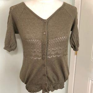 Olive green crochet knit cardigan sweater boho